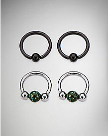 Black Opal-Effect Captive Ring 2 Pair - 16 Gauge
