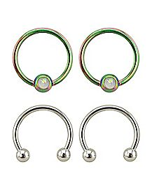 Opal-Effect Captive and Horseshoe Rings 2 Pair - 16 Gauge