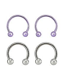 Purple and Silver Horseshoe Ring 4 Pack - 16 Gauge