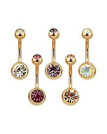 Rose Gold-Plated CZ Belly Rings 5 Pack - 14 Gauge