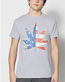 American Flag Leaf T Shirt