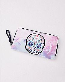 Tie Dye Sugar Skull Zipper Wallet