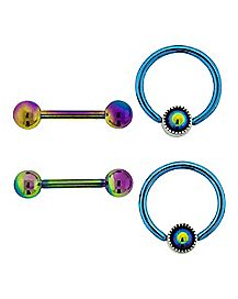 Rainbow Captive Nipple Rings and Barbells 2 Pair - 14 Gauge