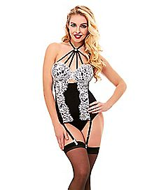 Halter Cage Corset and G-String Panties Set