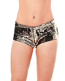 Gold and Silver Reversible Sequin Shorts
