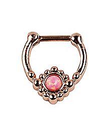 Rose Goldplated Opal-Effect Clicker Septum Ring - 16 Gauge