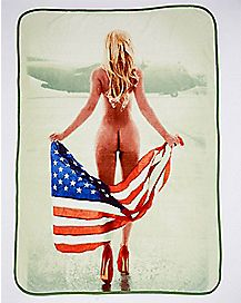 Naked Girl Flag Fleece Blanket