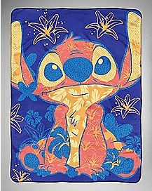 Floral Stitch Fleece Blanket - Lilo & Stitch