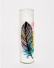 Water-Color Feather Candle