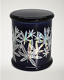Glitter Pot Leaf Storage Jar - 14 oz.