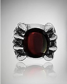 Red Stone Claw Ring - Size 10