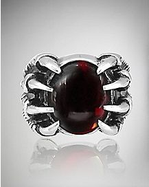 Red Stone Claw Ring - Size 12