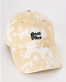 Tan Bleach Good Vibes Dad Hat