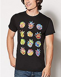 Twelve Faces Rick and Morty T Shirt