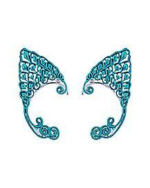 Iridescent Blue Elf Ear Cuffs