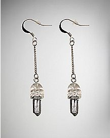 Crystal Skull Dangle Earrings