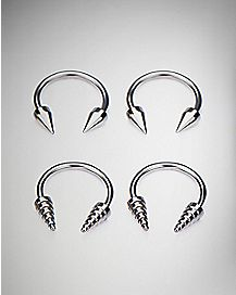 Etched Cone Horseshoe Ring 4 Pack - 16 Gauge
