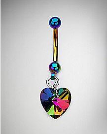 Rainbow Heart Dangle Belly Ring - 14 Gauge