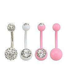Pink and Silver CZ Belly Ring 4 Pack - 14 Gauge