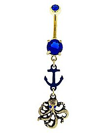Gold-Plated Octopus Anchor Blue CZ Dangle Belly Ring - 14 Gauge