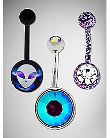 Multi-Pack Splatter Alien Belly Rings 3 Pack - 14 Gauge
