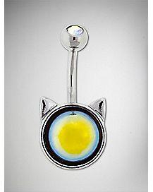 Cat Ear CZ Belly Ring - 14 Gauge