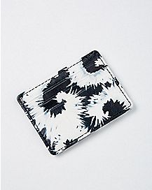 Black and White Tie Dye ID Case Wallet