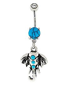 Turquoise-Effect Elephant Dangle Belly Ring - 14 Gauge