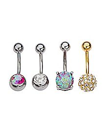 Multi-Pack CZ Belly Rings 4 Pack - 14 Gauge