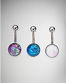 Opal-Effect Belly Rings 3 Pack - 14 Gauge