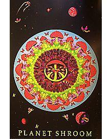 Planet Shroom Mushroom Black Light Poster