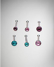 Multi-Pack CZ Bone Nose Rings 6 Pack - 20 Gauge