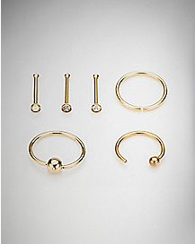 CZ Gold Plated Nose Ring 6 Pack - 20 Gauge
