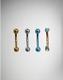Multicolor Curved Barbell 4 Pack - 16 Gauge