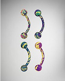 Multicolor Marbled Curved Barbell 4 Pack - 16 Gauge