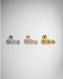 Triple CZ Labret Rings 3 Pack - 16 Gauge