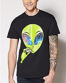 Joint Smoking Alien T Shirt