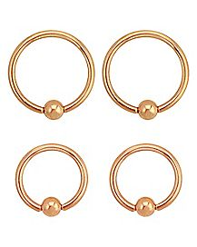 Rose Gold-Plated Captive Rings 4 Pack - 14 Gauge