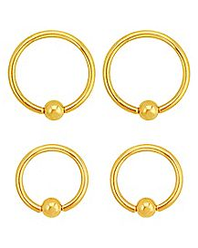 Gold-Plated Captive Rings 4 Pack - 14 Gauge