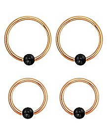 Rose Gold-Plated Captive Rings with Black Balls 4 Pack - 16 Gauge
