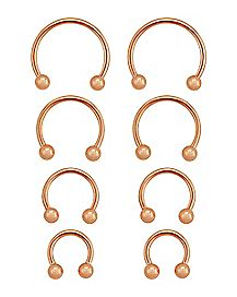 Rose Gold-Plated Horseshoe Rings 8 Pack - 16 Gauge