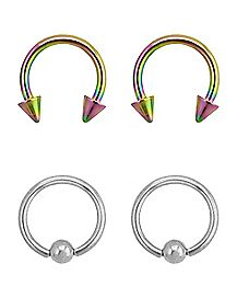 Multi-Pack Horseshoe and Captive Rings 4 Pack - 16 Gauge
