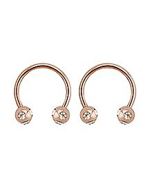 Rose Gold-Plated CZ Horseshoe Rings 1 Pair - 16 Gauge