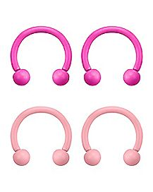 Pink Horseshoe Rings 4 Pack - 16 Gauge