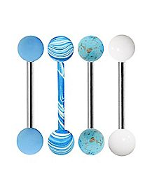 Blue and White Barbells 4 Pack - 14 Gauge