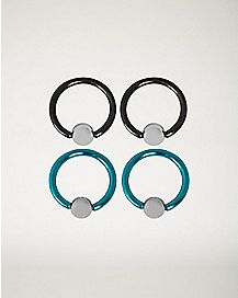 Black and Blue Captive Ring 4 Pack - 14 Gauge