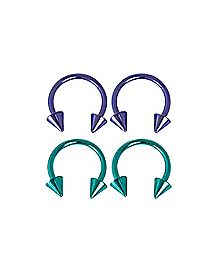 Green and Purple Horseshoe Rings 4 Pack - 16 Gauge
