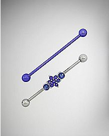 Opal-Effect Industrial Barbells 2 Pack - 14 Gauge