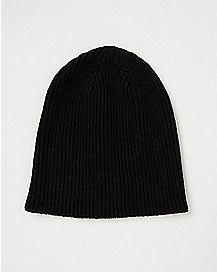 Black Ribbed Slouchy Beanie Hat