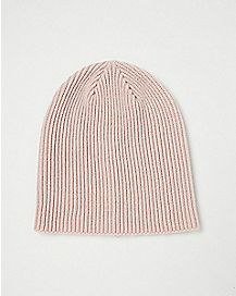 Pink Ribbed Slouchy Beanie Hat